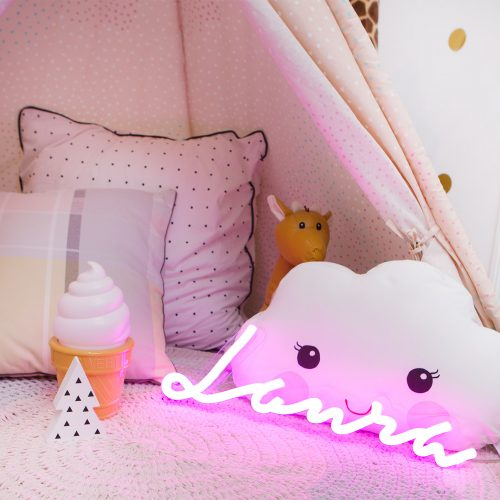 Custom LED Neon name sign child Laura kids room