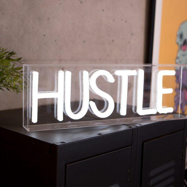 acrylic box neon hustle work office