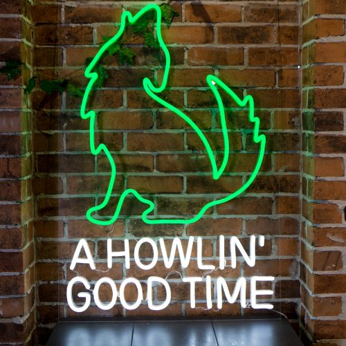 mexican custom led neon sign howling wolf green restuarant