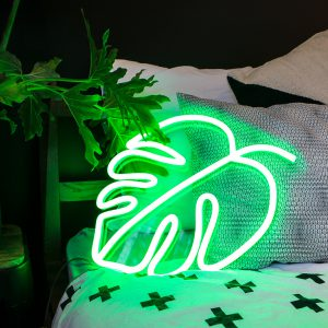 green neon plant leaf monstera bedroom